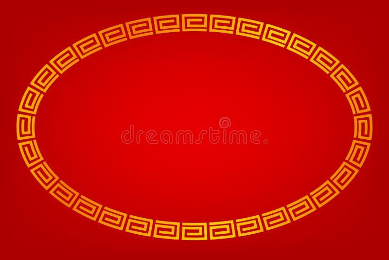 Quadro, estilo ovais dourados da porcelana, para o certificado, o cartaz, o contexto, e o outro, fundo gradual vermelho ilustração stock