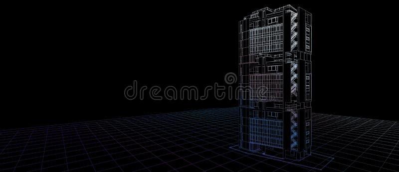 Quadro exterior do fio da cor da perspectiva da construção do conceito de projeto 3d da fachada da arquitetura que rende o fundo  ilustração royalty free