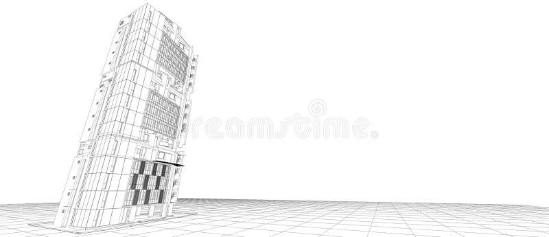 Quadro exterior do fio da perspectiva da construção do conceito de projeto 3d da fachada da arquitetura que rende o fundo branco  ilustração stock