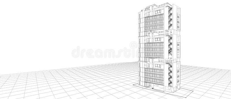 Quadro exterior do fio da perspectiva da constru??o do conceito de projeto 3d da fachada da arquitetura que rende o fundo branco  ilustração stock