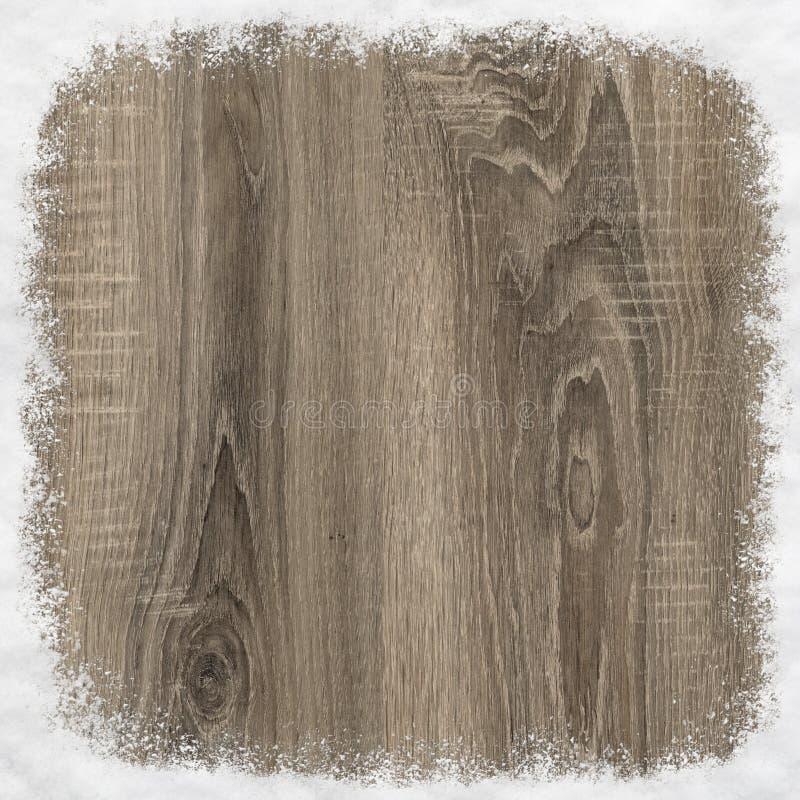 Quadro feito da madeira e da neve fotografia de stock royalty free