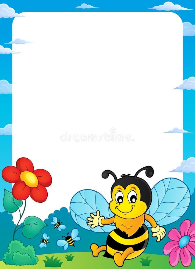 Quadro feliz 1 do assunto da abelha da mola ilustração do vetor