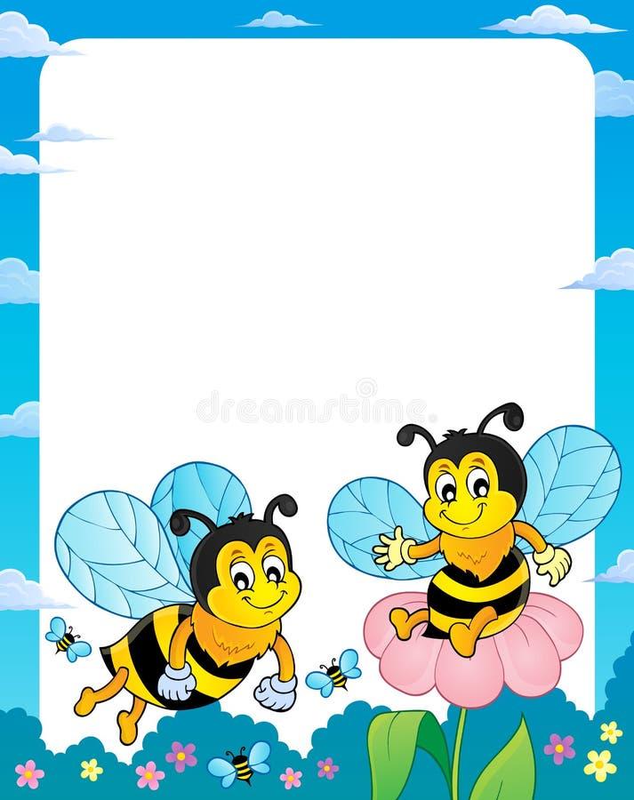 Quadro feliz 1 do tema das abelhas da mola ilustração stock