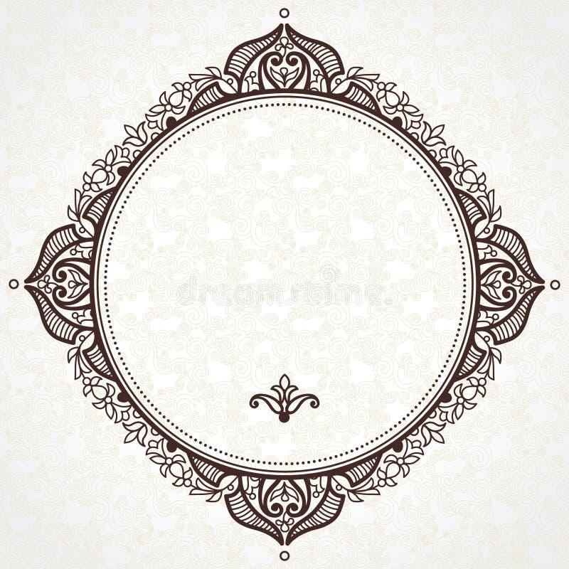 Quadro filigrana do vetor no estilo oriental ilustração stock