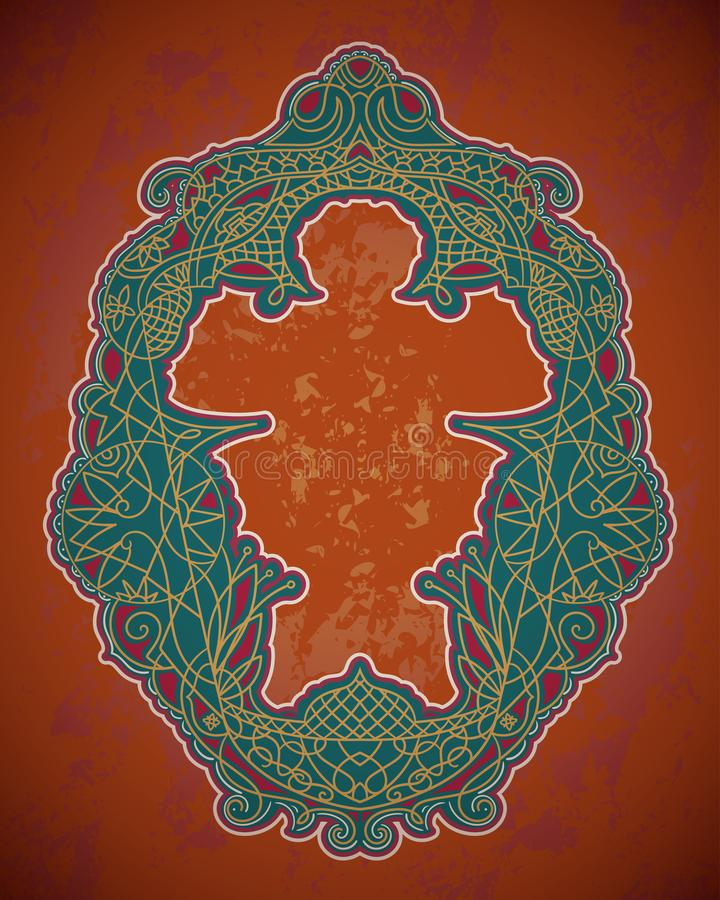 Quadro floral árabe com o ornamento islâmico tradicional Elemento decorativo no estilo marroquino Molde do projeto para o cartão, ilustração stock
