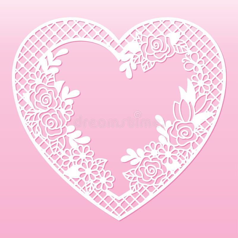 Quadro floral a céu aberto na forma de um coração Molde de corte do laser ilustração stock