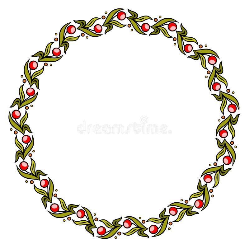Quadro floral colorido do círculo simples, grinalda ilustração royalty free