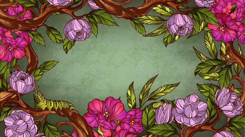 Quadro floral colorido do vintage com lagarta ilustração do vetor
