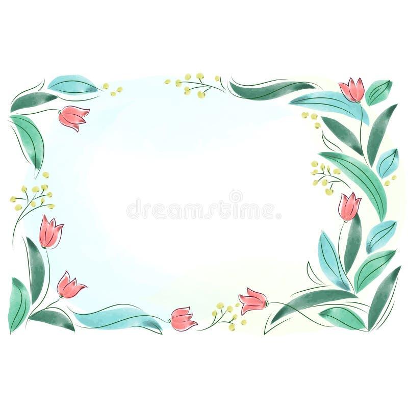 Quadro floral com as flores cor-de-rosa da mola Isola da beira do ramalhete das tulipas ilustração royalty free