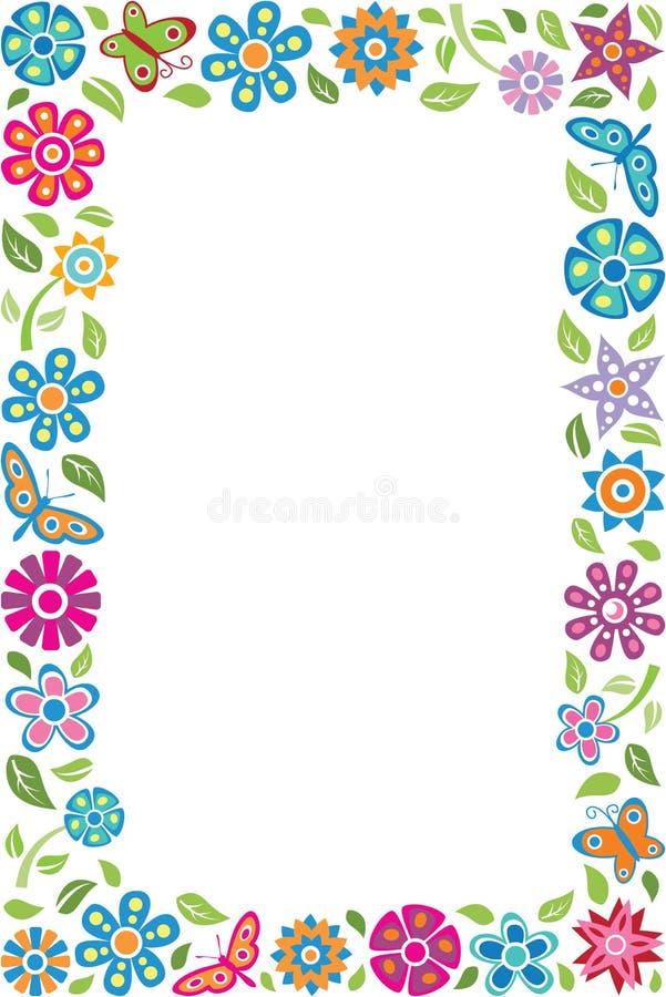 Quadro floral com borboletas ilustração royalty free