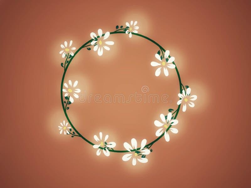 Quadro floral com Daisy Flower Vintage Background ilustração do vetor
