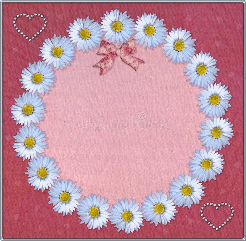 Quadro floral com fundo do tule ilustração stock