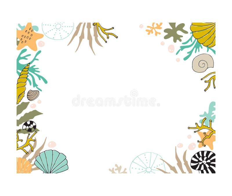 Quadro floral da alga do vetor ilustração do vetor