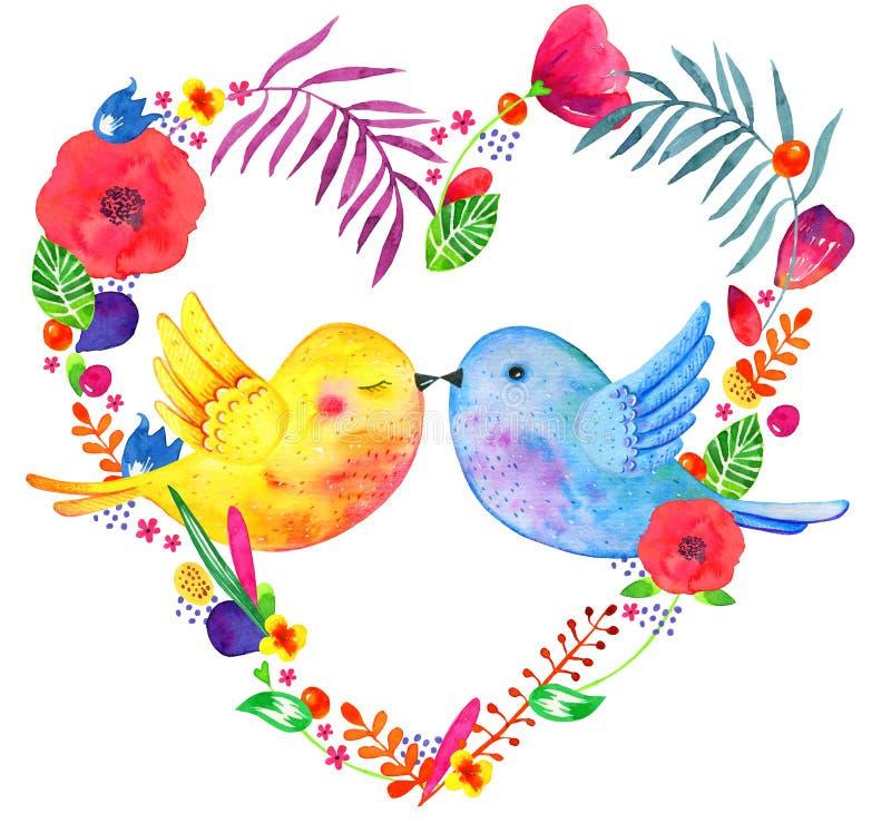 Quadro floral da forma do coração com pares de beijo dos pássaros Ilustração tirada mão da aquarela com as plantas e as flores de ilustração stock