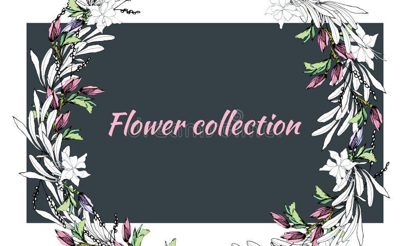 Quadro floral de flores brilhantes da mola Cartão para felicitações e convites com flores Ilustra??o do vetor ilustração do vetor