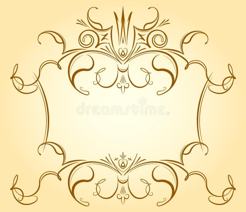 Quadro floral decorativo do vintage com a coroa em tons delicados para g ilustração stock