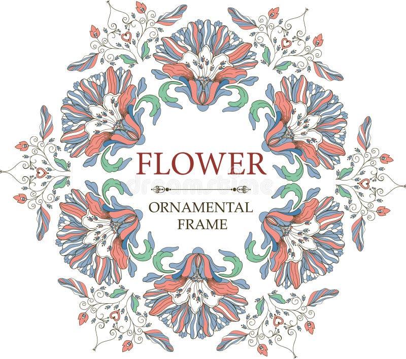 Quadro floral decorativo no estilo do vintage Ornamento circular ilustração stock