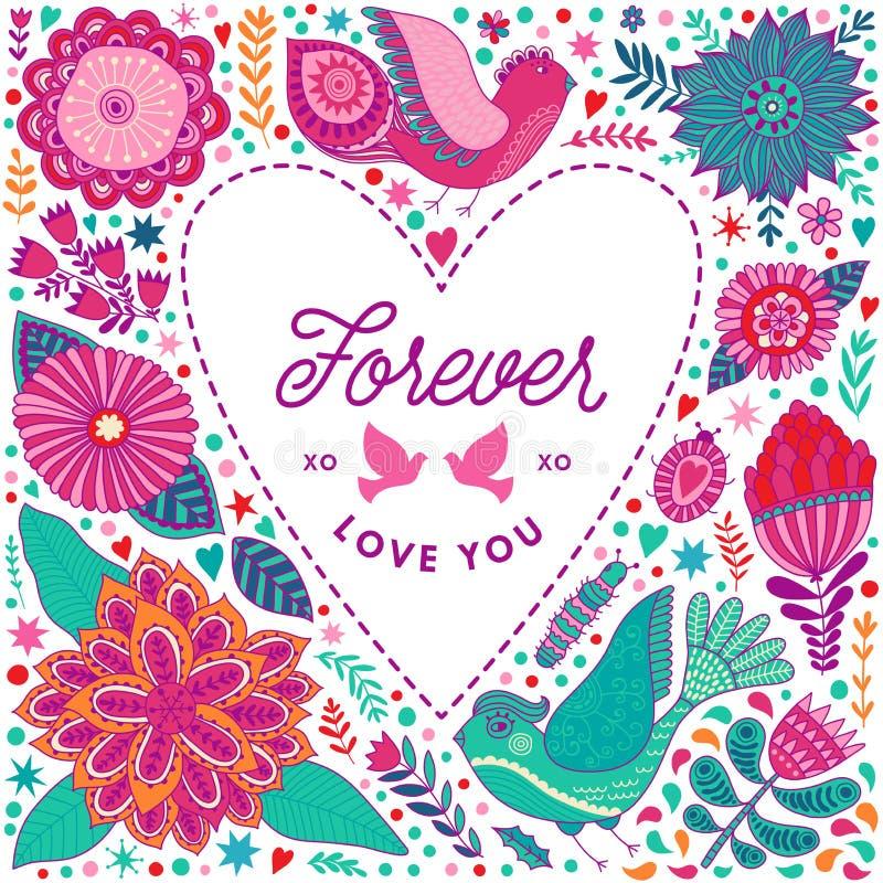 Quadro floral do coração feito das flores ilustração do vetor
