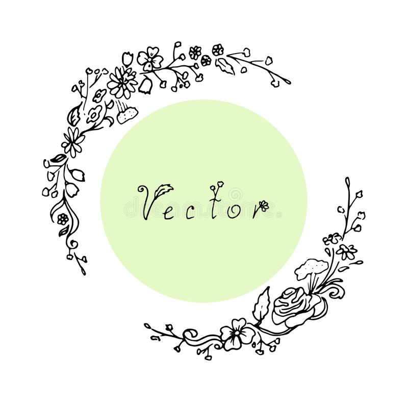 Quadro floral do esboço ilustração do vetor