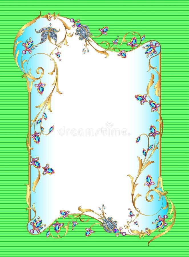 Quadro floral do fundo verde-claro com gemas ilustração stock