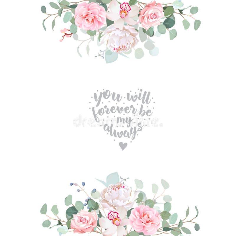 Quadro floral do projeto do vetor do casamento bonito ilustração do vetor