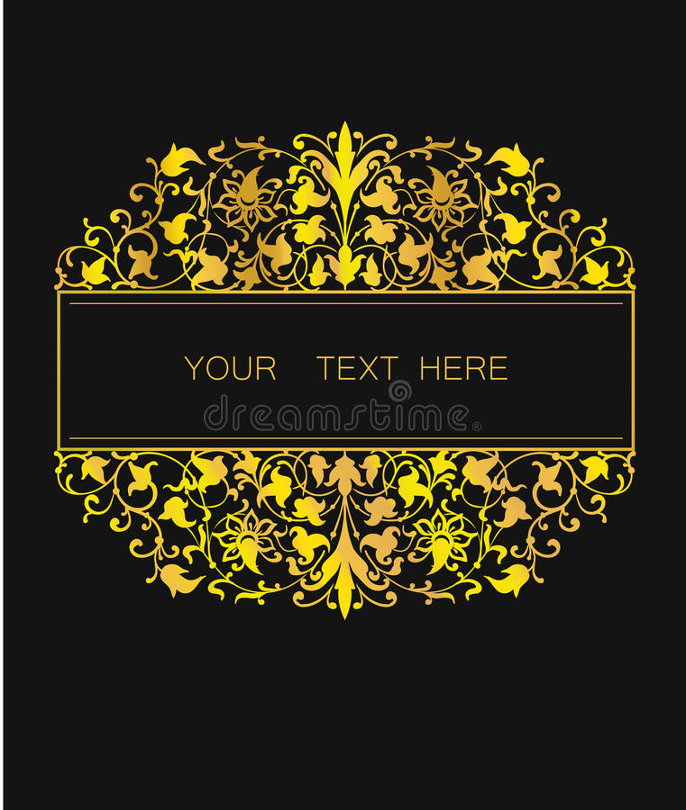 Quadro floral do vetor no estilo oriental Elemento ornamentado para o projeto Lugar para o texto Linha dourada ornamento da arte  ilustração stock