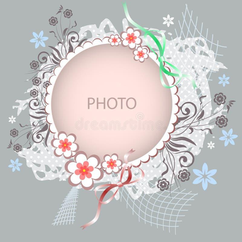 Quadro floral do vetor no fundo cinzento ilustração royalty free