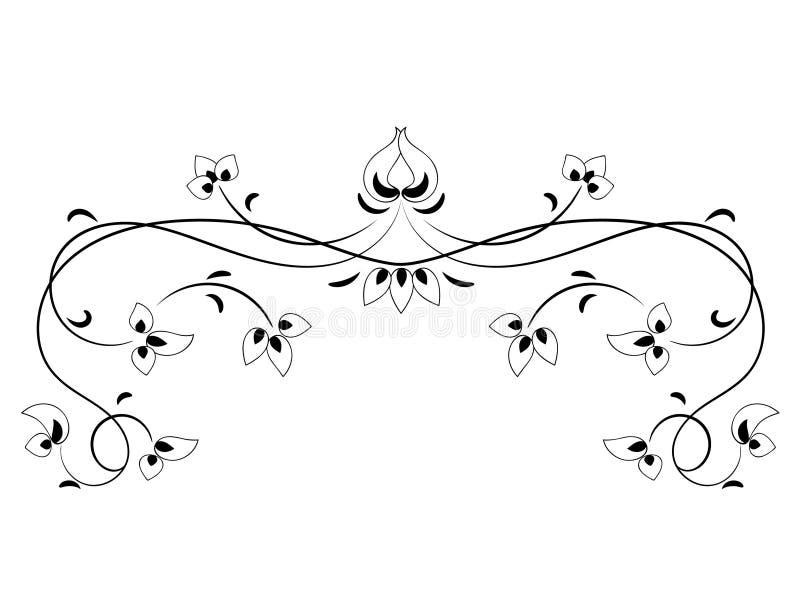 Quadro floral do vintage preto e branco Projeto de Art Nouveau fundo branco, isolado, ilustração 2 do vetor ilustração royalty free