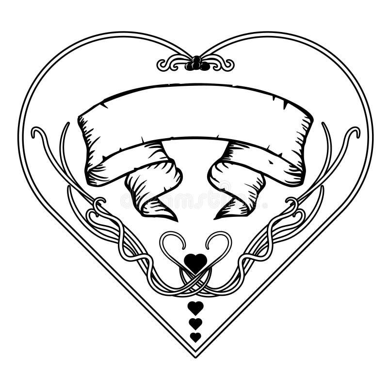 Quadro floral do vintage preto e branco Projeto de Art Nouveau Ilustração do vetor forma do cervo ilustração do vetor