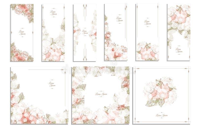 Quadro floral e da flor/grupo vetor do fundo ilustração do vetor