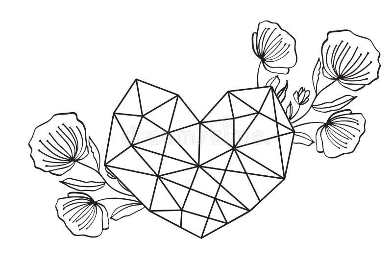 Quadro floral gráfico do coração do amor da geometria Folhas e flores do vetor na vinheta bonito isoladas no fundo preto ilustração stock