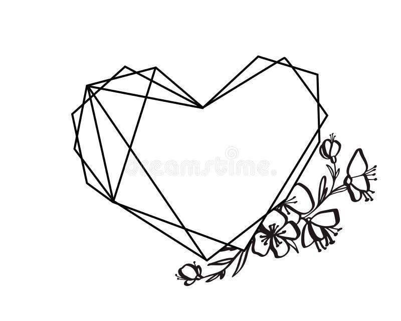 Quadro floral gráfico do coração da geometria Folhas e flores do vetor na vinheta bonito isoladas no fundo preto casamento ilustração royalty free