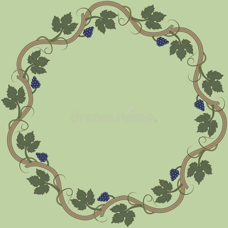 Quadro floral medieval com grupo de uvas, folhas da uva, redemoinhos ilustração do vetor