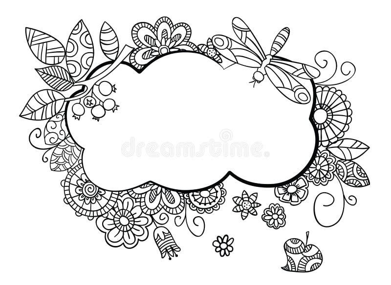 Quadro floral no estilo da garatuja ilustração do vetor