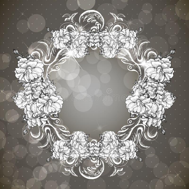 Quadro floral no estilo do vintage ilustração stock