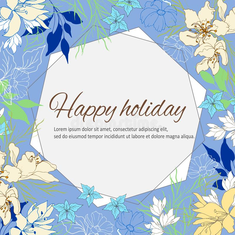 Quadro floral para o texto, para desejos e felicitações O verão multi-coloriu os botões, as folhas e as flores tirados à mão Veto ilustração stock