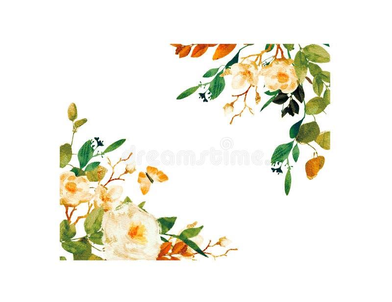 Quadro floral pintado ? m?o ilustração stock