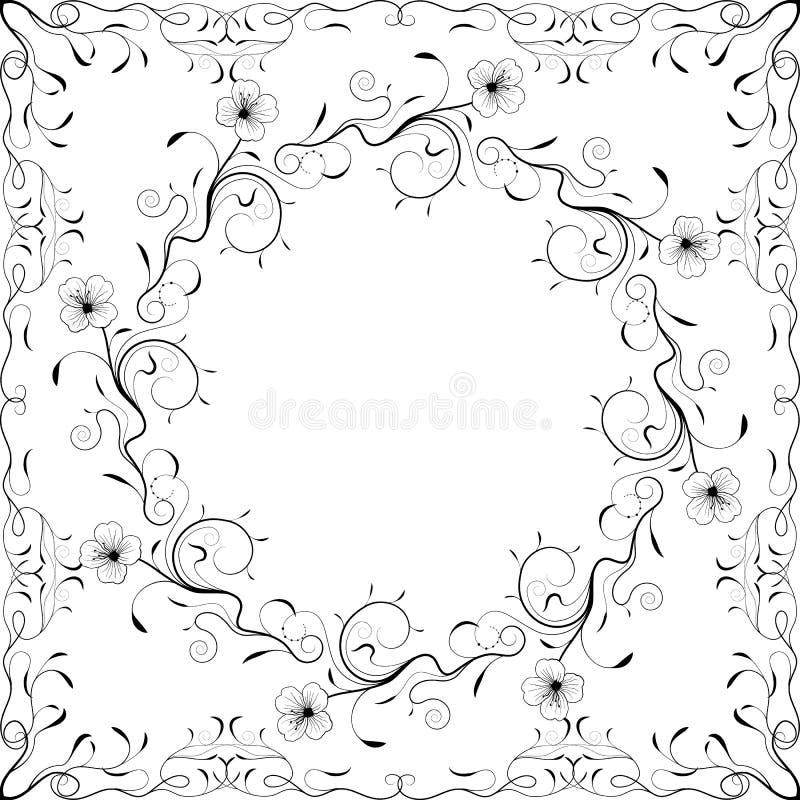 Quadro floral preto e branco. Ilustração do vetor ilustração stock