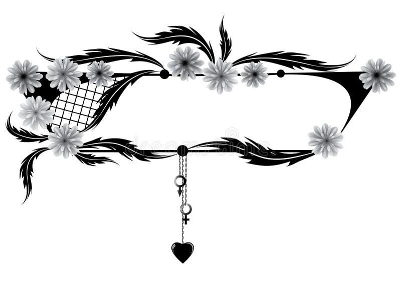 Quadro flores, coração, Vênus e Marte do wiith ilustração stock