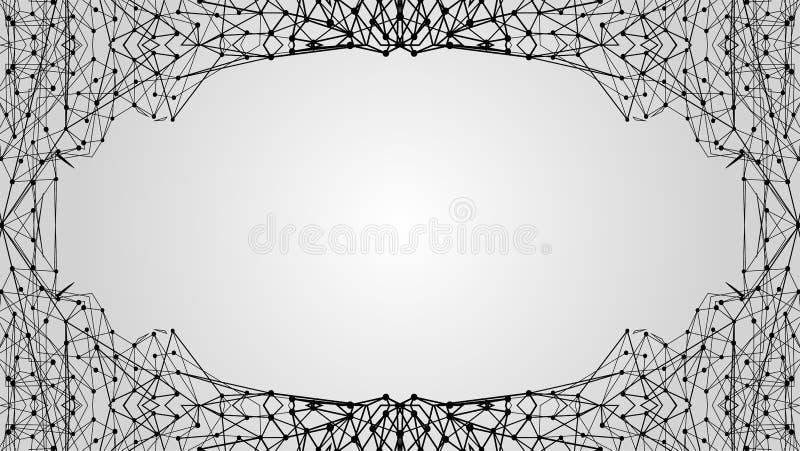 Quadro futurista do molde Baixo ornamento poli do fundo moderno para o espaço da cópia Projeto criativo da malha do polígono ilustração stock