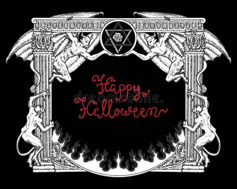 Quadro gótico de Dia das Bruxas com demônios e pentagram no fundo preto ilustração do vetor