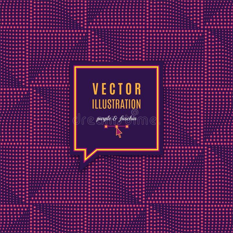Quadro geométrico com efeitos da luz, teste padrão sem emenda quadrado futurista Fundo roxo abstrato geométrico para o cartaz ilustração do vetor