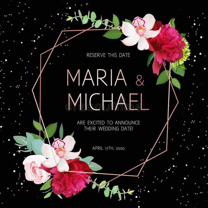 Quadro geométrico escuro à moda do projeto do vetor do casamento com flores ilustração stock