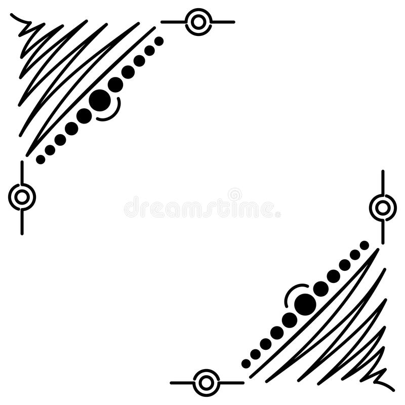Quadro handdrawn preto abstrato da garatuja ilustração stock