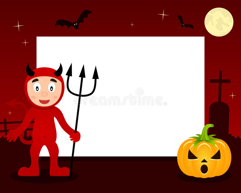Quadro horizontal de Dia das Bruxas do diabo vermelho ilustração do vetor
