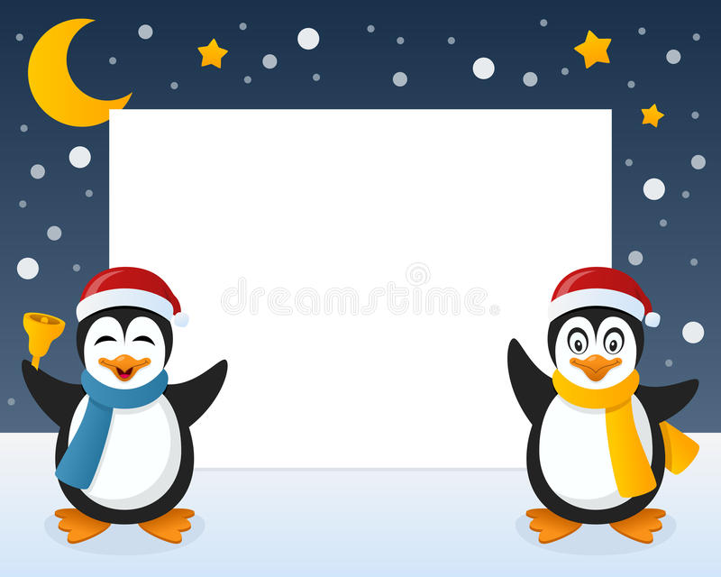 Quadro horizontal dos pinguins do Natal ilustração stock