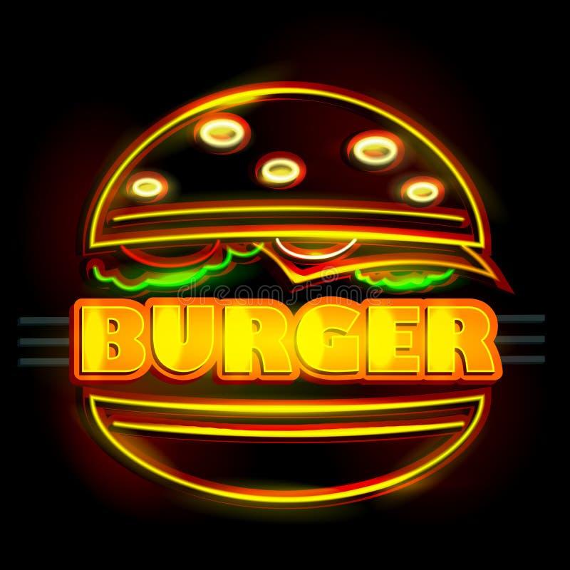 Quadro indicador da luz de néon para o hamburguer ilustração royalty free