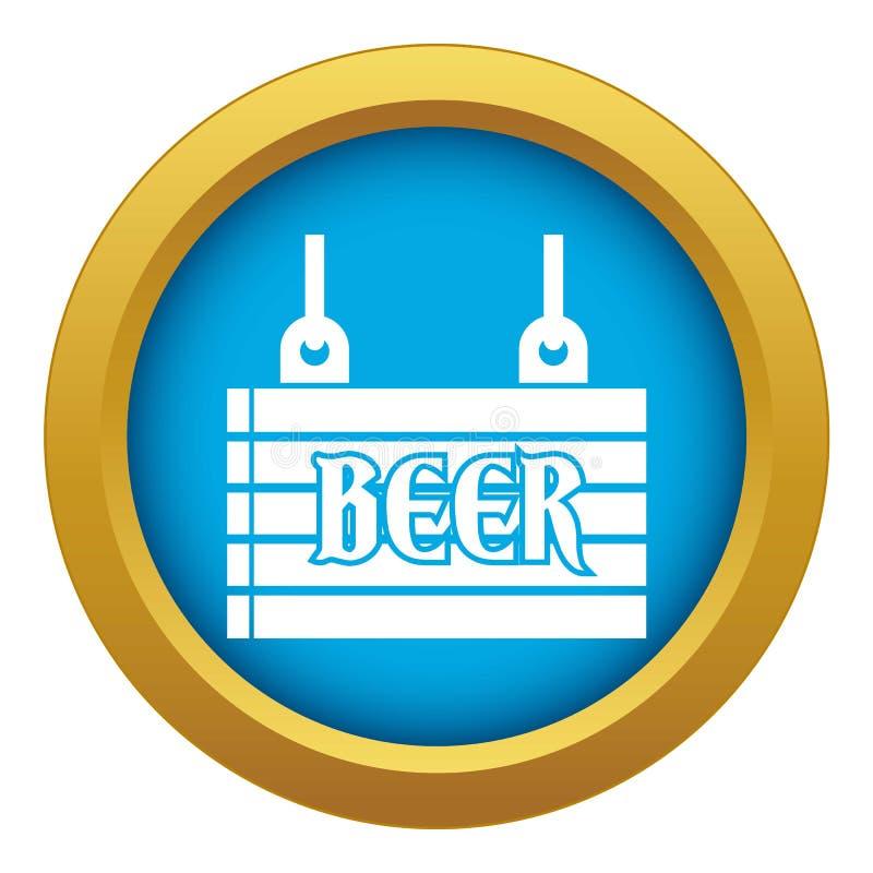 Quadro indicador da rua do vetor azul do ícone da cerveja isolado ilustração royalty free