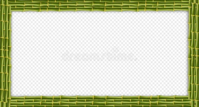 Quadro indicador de bambu das varas do retângulo verde com espaço da cópia ilustração stock