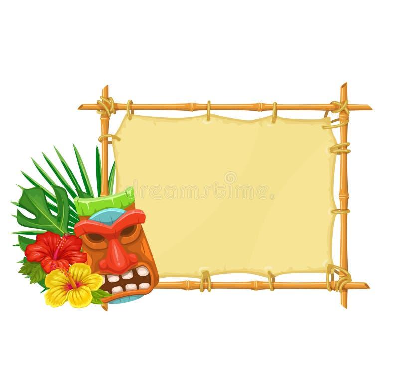 Quadro indicador de bambu Tiki ilustração royalty free